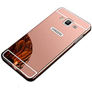 Norby Luxury Metal Bumper Acrylic Mirror MB-ON7-RG Back Cover Case for Samsung Galaxy On7 (Rose Gold)