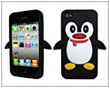 BONAMART ® Black Penguin Silicone Soft Case Cover for Iphone 4 4g 4s
