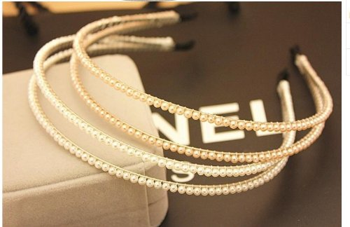 [emo's style: double strand Pearl headband 2 colors you can choose from (Pearl White)