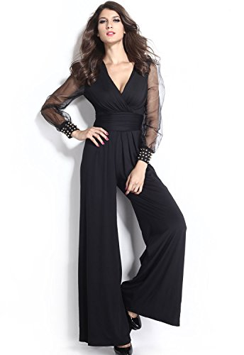 Women's Embellished Cuffs Long Mesh Sleeves Wide Leg Romper Jumpsuit (XXL, Black) (Ebay Plus Size Clothes compare prices)