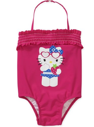 Hello Kitty Little-Girls Toddler One Piece Ruffled Bathing Suit (5T) front-875039