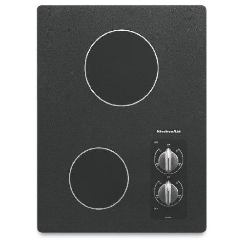 KitchenAid KECC056RBL 15 Electric Cooktop – Black  ->  15″ 2 Element Traditional Black Ceramic Glass Elec
