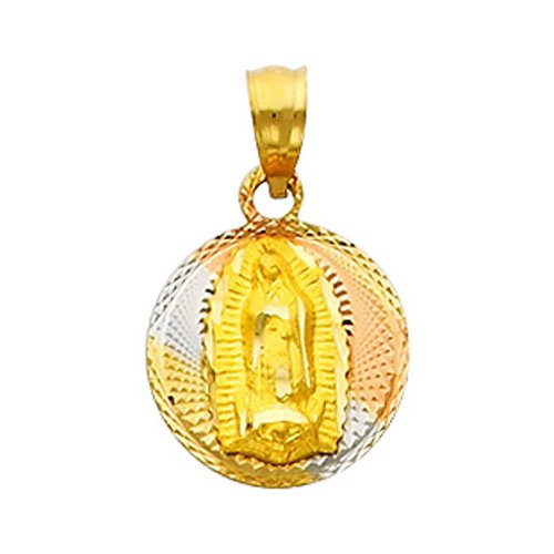 14K 3 Tri Color Gold Dia-Cut Religious Mary Guadlupe Stamp Charm Pendant