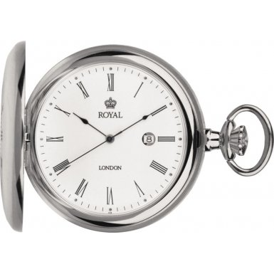 Royal London Pocket Watch 90008-01 Silver Tone Half Hunter