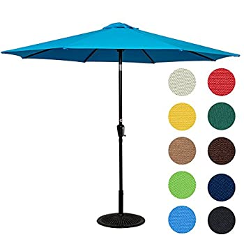 Sundale Outdoor 10 Feet Aluminum Market Umbrella Table Umbrella with Crank and Push Button Tilt for Patio, Garden, Deck, Backyard, Pool, 8 Steel Ribs (Lake Blue)