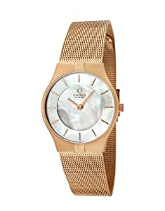 Obaku Women's Quartz Watch with Mother of Pearl Dial Analogue Display and Rose Gold Stainless Steel Bracelet V122LVWMV