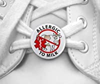 ALLERGIC TO MILK No Cow Medical Alert Pair of 1 inch Shoe Tag Charms by Creative Clam
