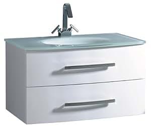 Luxo Marbre Beach 3320 W Beach Vanity With Tempered Glass Sink White Bathroom Vanities