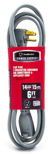 Southwire 56958757 14/3 Spt-3 Air Conditioner And Major Appliance Cord, 6-Feet, Gray front-6779