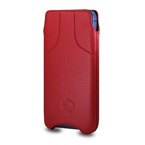 Best Price iPhone 5S Case - Kouros Torque - Genuine Italian Leather Case - Pouch Cover (Red)