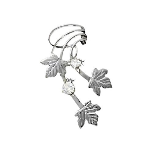Sterling Silver Right Only Pierceless Maple Leaves Ear Cuff