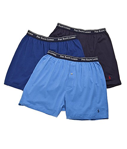 Polo Ralph Lauren Classic Cotton Knit Boxer Shorts-3 Pack Assorted Blues-Large
