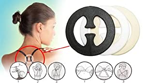 Pair of round BRA CLIPs to hold bra straps in racer style. One each: black, clear
