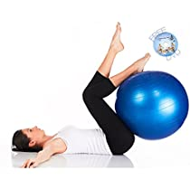 XMark Fitness Anti Burst Exercise Ball with Pump and Workout, 55-65cm