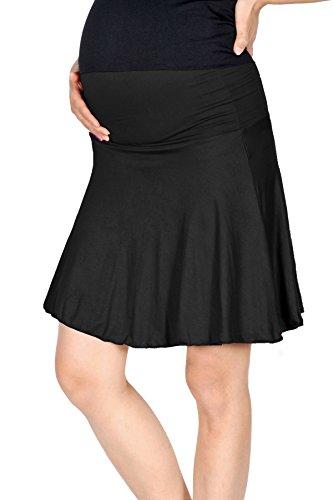 Beachcoco Women's Maternity Fold Over Flared Knee Length Skirt (S, Black)