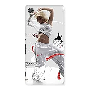 Delighted White Dance Red Ribbon Back Case Cover for Xperia Z3 Plus