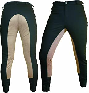 Synthetic Leather Dressage Horse Riding Pants Full Seat Breeches Breech Unisex O