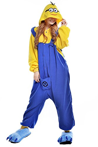 [Belife Unisex-Adult Onesie Pajamas Cosplay Costumes(M,Minion)] (Adult Minions Costumes)