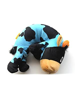 Kids Animal Travel Buddies Neck Pillow Blue Bull