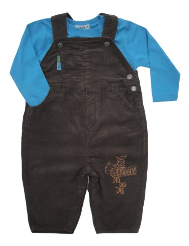 Bright Bots Baby Boys Brown Soft Cord Dungarees / Overall 2 Piece Set size 12-18 months