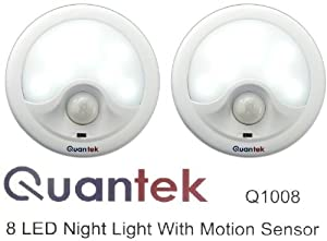 Pack of 2 Quantek 8 LED Automatic Motion-sensing Night Lights - Battery Powered Hallway Light with a built in Motion and automatic light Sensor Twin Pack