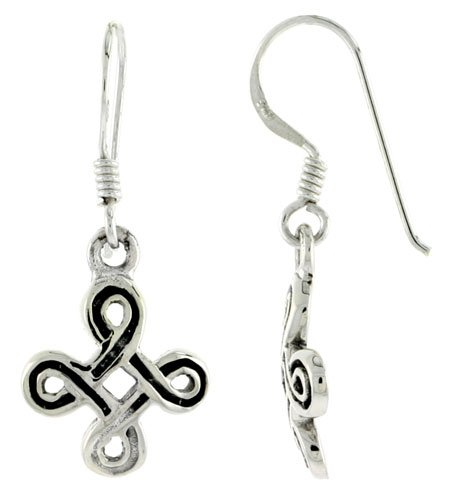 Sterling Silver Infinity Cross Celtic Dangle Earrings, 1 1/4 inch (31 mm) tall