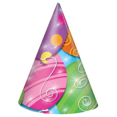 Twinkle Balloons Party Hats, 8ct - 1