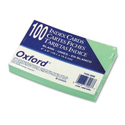 цена на Oxford - Unruled Index Cards, 4 x 6, Green, 100 per Pack