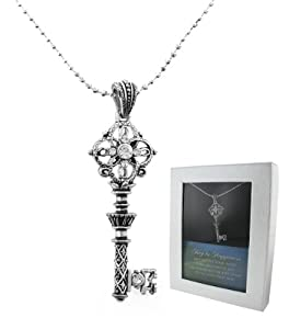 Creative Ventures The Key to Happiness Sparkling Key Pendant with Austrian Crystal