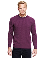 2in Longer Blue Harbour Extrafine Pure Lambswool Twisted Cable Knit Jumper