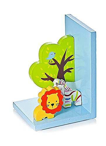 Kids Safari Themed Bookends for Boys Girls Bedroom or Nursery