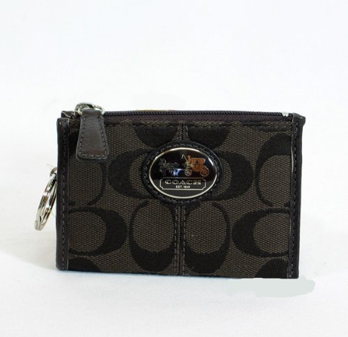 Coach 43967BRN Signature Sutton Mini Skinny Key Ring Wallet Purse Brown
