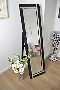 Full Length Cheval Modern Double Black and Mirror Venetian Free Standing Mirror 150cm x 140 cm       review