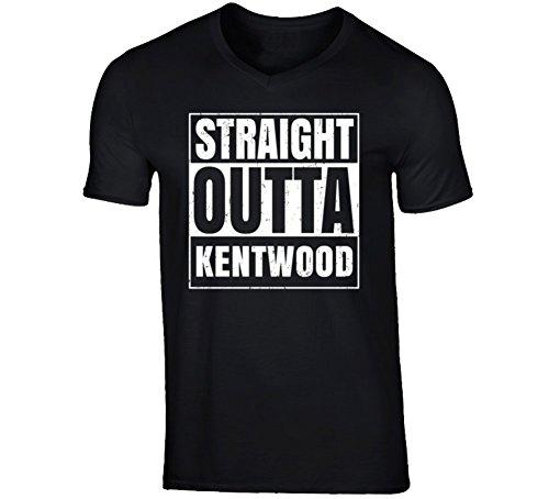 Straight Outta Kentwood Michigan City Father's Day Vneck T Shirt 2XL Black (City Of Kentwood Michigan)