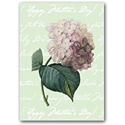 "Happy Mother's Day with Hortensia - 5"" x 7"" Vellum Overlay Mother's Day Greeting Card"