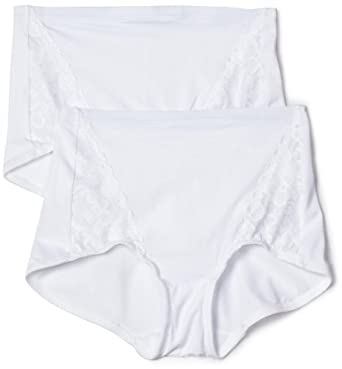 Flexees by Maidenform Women's Everyday Control Lace Insert Brief 2-Pack, White, XX-L