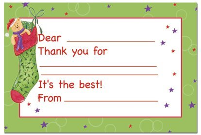 Kid's Stockings Fill In The Blank Thank You Note