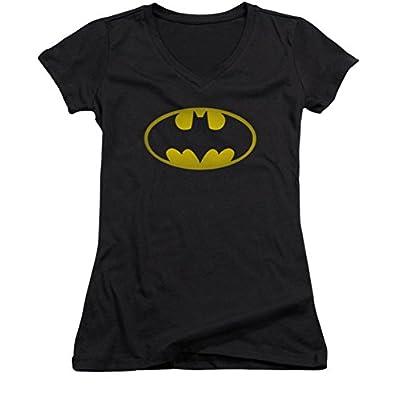DC Batman Washed Bat Logo Ladies Junior Fit V-Neck T-Shirt