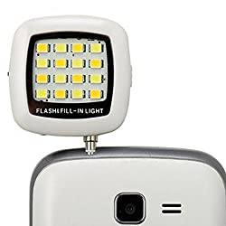 ENRG Selfie Flash Light White :: 3.5mm pin jack 16 LED cubes flashlight with Three levels of brightness to click Phone selfies.Compatible with all phones.Can be used as a Flash torch.