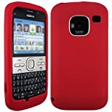 Wayzon Red Nokia E5 Case Cover Skin Pouch Shell Plain Silica Rubber