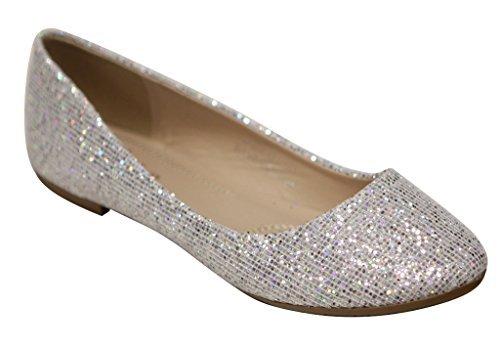 Bella Marie Stacy-47 Women's Dress Ballet Flat Slip On Comfortable Ballerina Synthetic Glitter Sparkle Shoes Silver 9