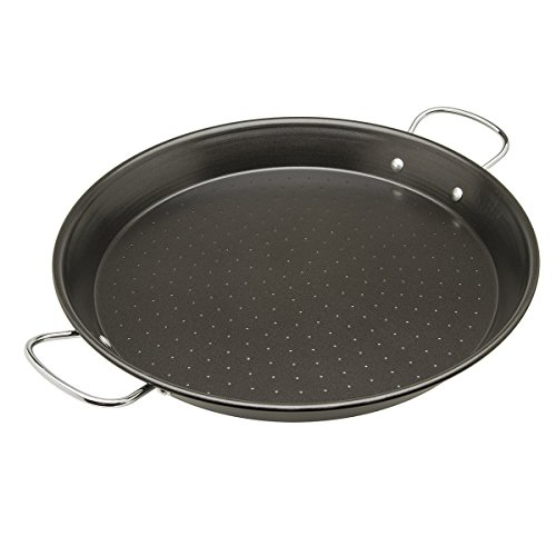 Ecolution Sol Paella Pan - Eco-Friendly PFOA Free Hydrolon Non-Stick - Heavy Duty Carbon steel with Riveted Chrome Plated Handles - Dishwasher Safe - Limited Lifetime Warranty - Black- 15