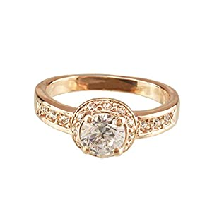 FM42 Round Cut Clear Crystal Vintage Style Engagement Style Ring R45 Size 8