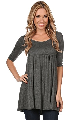 Fashion Stream Women's Solid Knit Baby Doll Mini Short Dress (L, H.CHARCOAL)