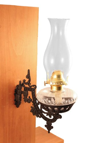 Oil Lamps - Clear Glass W/Cast Iron Wall Bracket - Victorian Hurricane Lamps