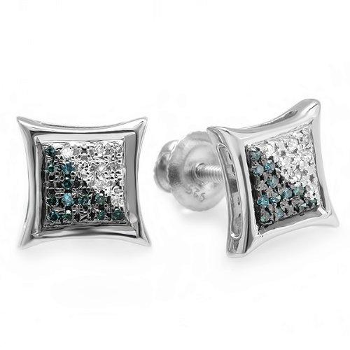 0.05 Carat (ctw) Sterling Silver White & Blue Round Diamond Micro Pave Setting Kite Shape Stud Earrings