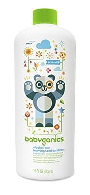 Babyganics Alcohol-Free Foaming Hand Sanitizer Refill, 16oz Bottle (Pack of 2)