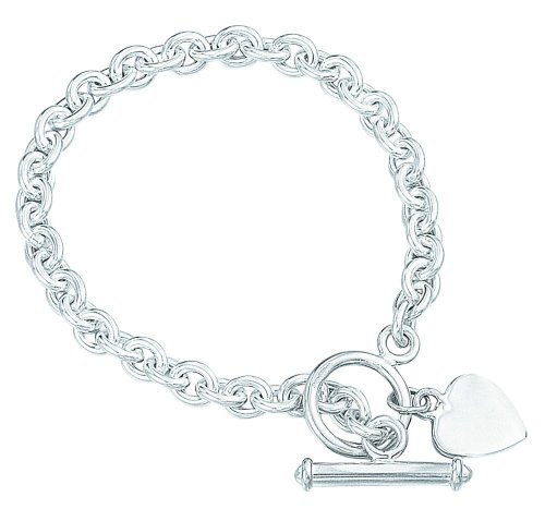 Elements Sterling Silver Ladies B122 Heart charm Toggle Bracelet
