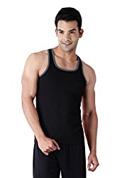 Chromozome Men TE01 Tri Gym Vest, Size: M, Colour: Black, Red - Pack of 2