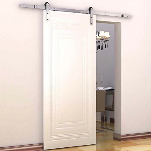 HomCom 6' Interior Sliding Barn Door Kit - Flat Stainless Steel